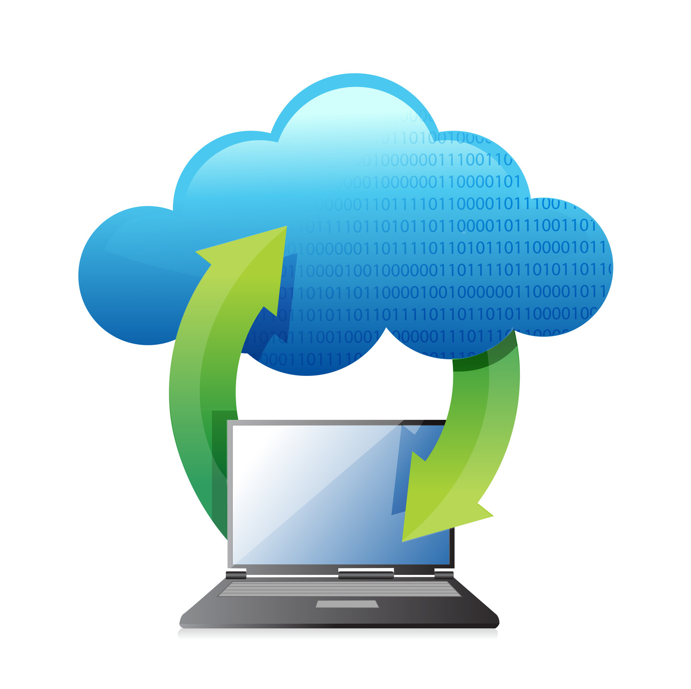 laptops transferring to cloud illustration design over a white background